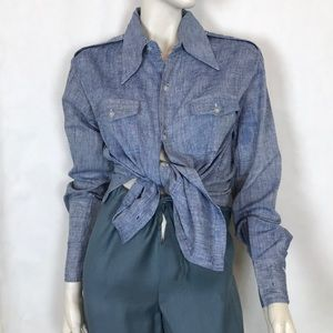Vintage 70s blue belted buttondown chambray shirt
